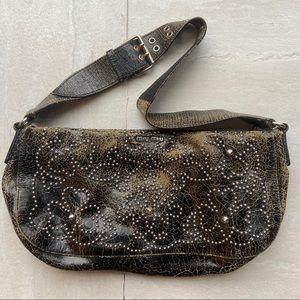 Miu Miu cracked leather purse adjustable strap